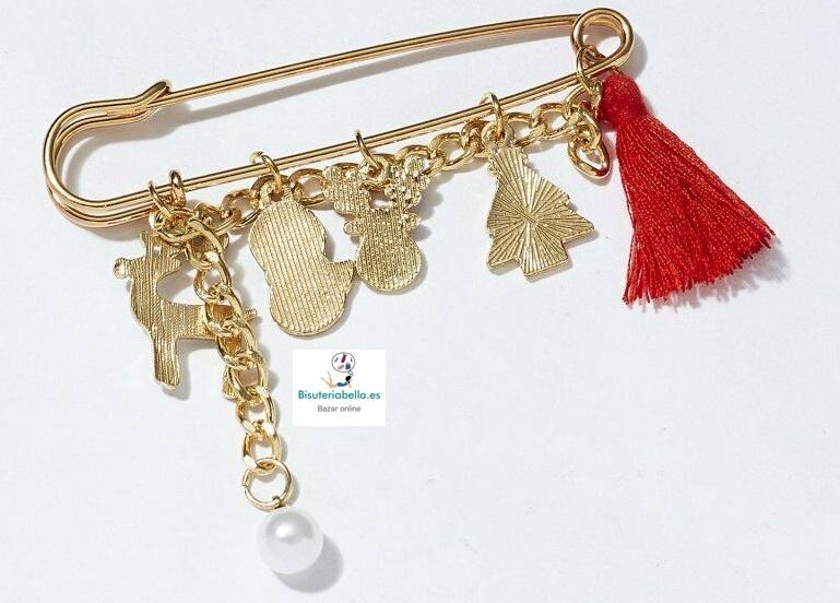 Broche dorado con detalles navideños a elegir