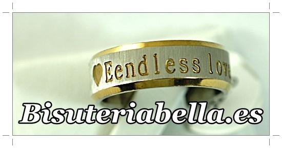 Anillo Unisex de acero plateado y dorado letras boda  T.9