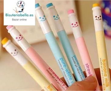 Boligrafos Sonrisas y gomas borrar a elegir 3 colores