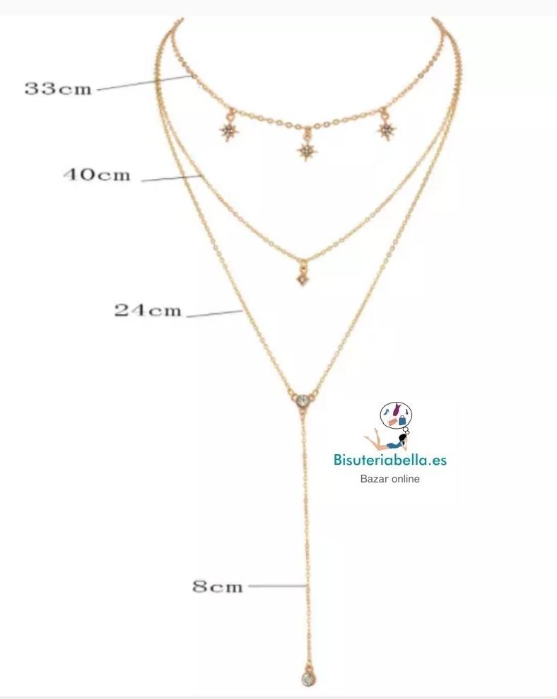 Gargantilla 2 multi-cadenas estrellas solares y colgante