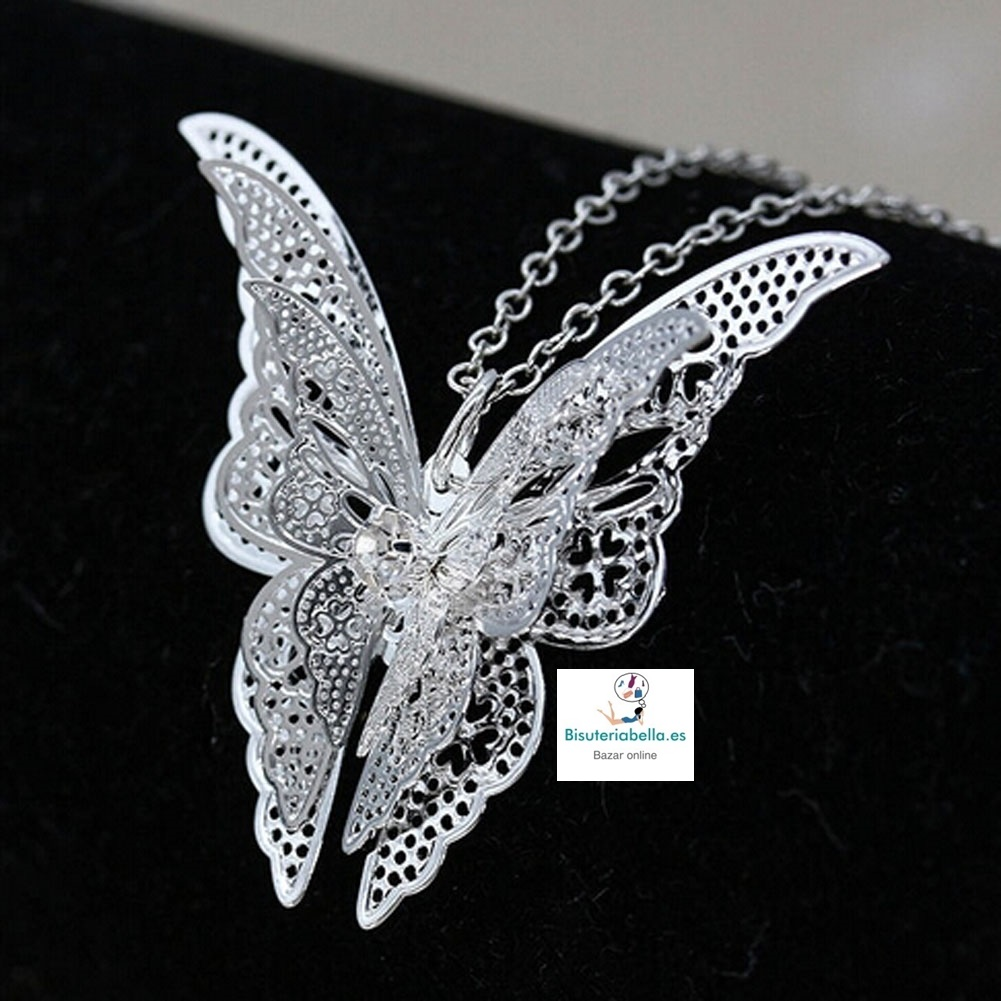 Colgante chapado plata mariposa doble