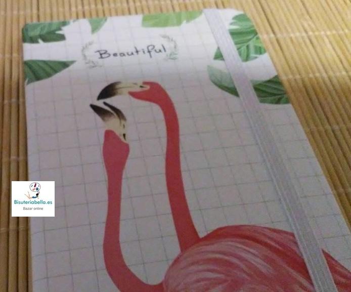Mini-Libretas flamencos ''Beautiful'' blancas