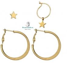 Pendientes Aros,doble Medianos Dorados,Estrellas
