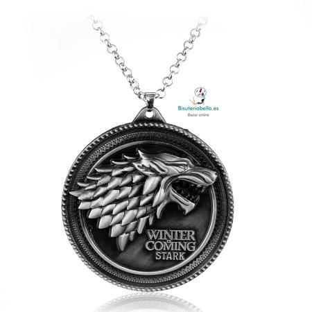 Colgante escudo casa Stark Juego de Tronos con Frase