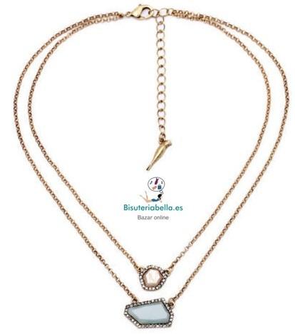 Collar doble cadena bronce Piedra Turquesa y Arena