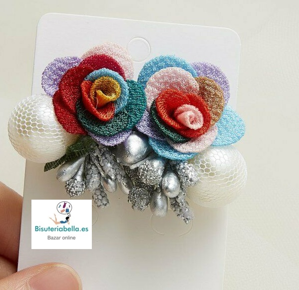 Pendientes flor de tela grande con detalles