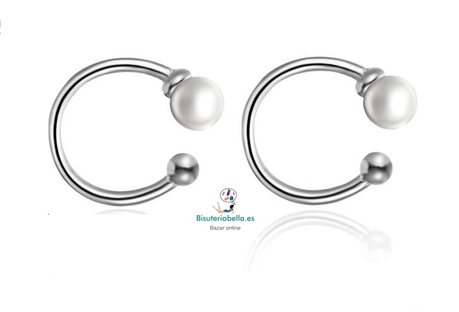 Mini-Pendientes plateados perla(sin agujero )
