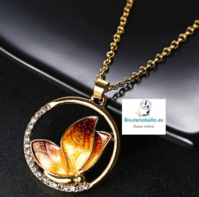 Colgante Dorado Circulo, Mariposa dentro a elegir