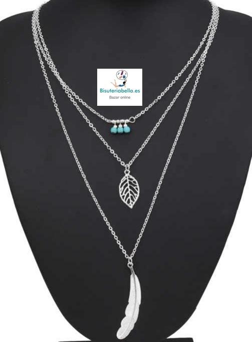 Multi-colgante 3 cadenas plumas y detalles turquesas