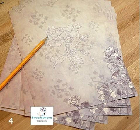 Hojas decoradas estilo Vintage Floral a elegir x5